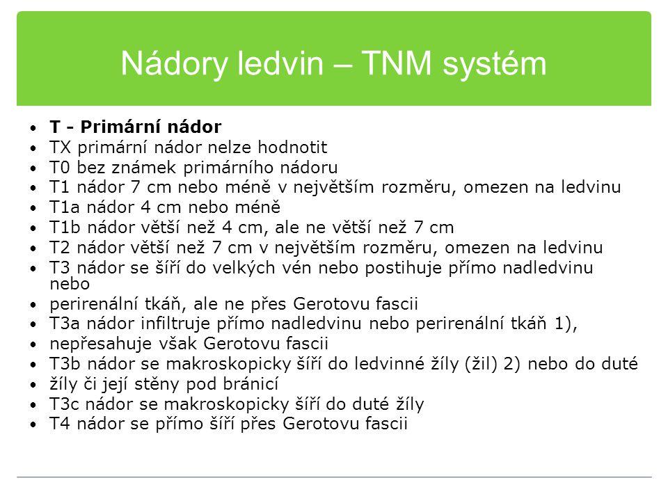 Nádory ledvin – TNM systém T - Primární nádor TX primární nádor nelze hodnotit T0 bez známek primárního nádoru T1 nádor 7 cm nebo méně v největším roz