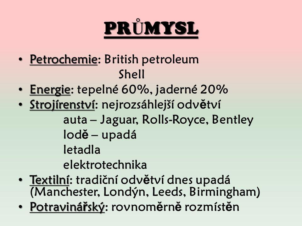 PR Ů MYSL Petrochemie Petrochemie: British petroleum Shell Energie Energie: tepelné 60%, jaderné 20% Strojírenství Strojírenství: nejrozsáhlejší odv ě tví auta – Jaguar, Rolls-Royce, Bentley lod ě – upadá letadla elektrotechnika Textilní Textilní: tradiční odv ě tví dnes upadá (Manchester, Londýn, Leeds, Birmingham) Potraviná ř ský Potraviná ř ský: rovnom ě rn ě rozmíst ě n