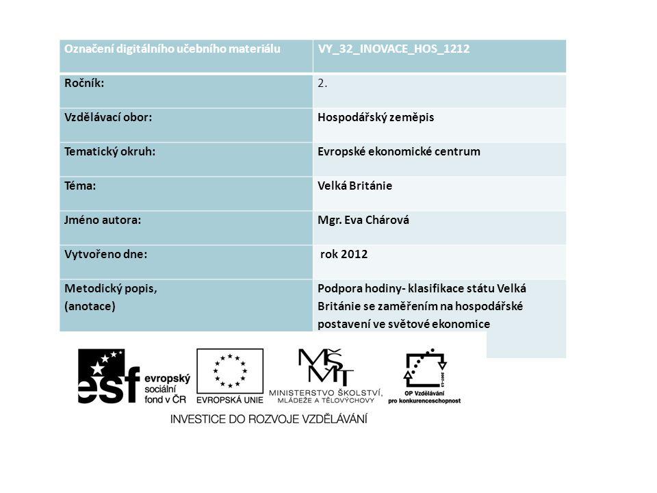 Označení digitálního učebního materiáluVY_32_INOVACE_HOS_1212 Ročník:2. Vzdělávací obor:Hospodářský zeměpis Tematický okruh:Evropské ekonomické centru