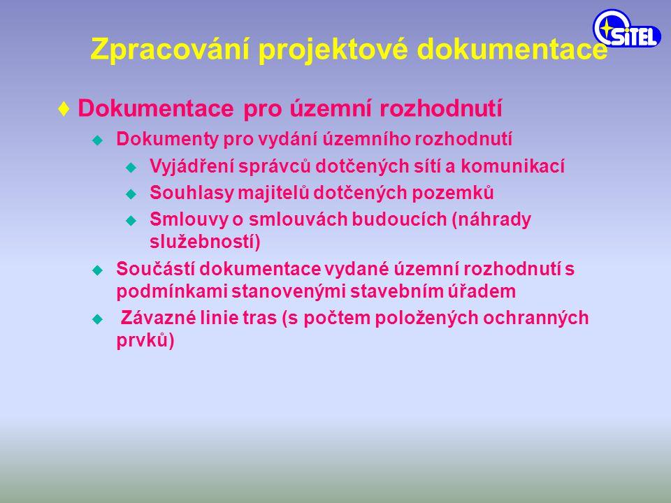 Zpracování projektové dokumentace ♦ Dokumentace pro územní rozhodnutí u Dokumenty pro vydání územního rozhodnutí u Vyjádření správců dotčených sítí a