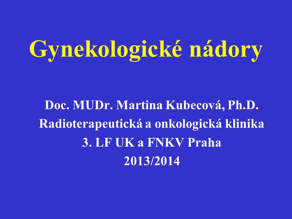 Gynekologické nádory Doc. MUDr. Martina Kubecová, Ph.D. Radioterapeutická a onkologická klinika 3. LF UK a FNKV Praha 2013/2014