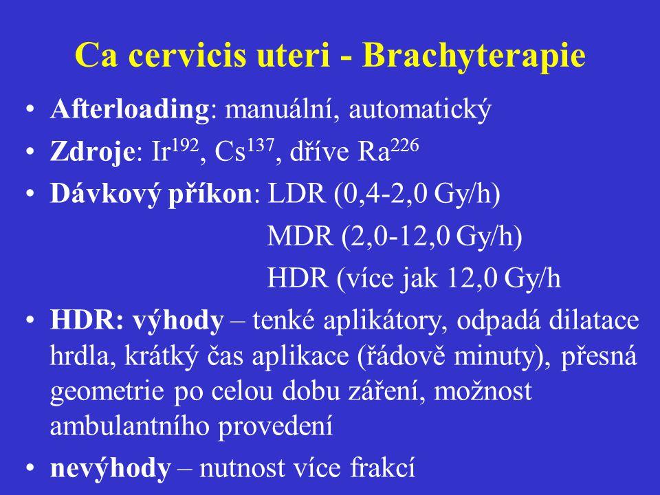 Ca cervicis uteri - Brachyterapie Afterloading: manuální, automatický Zdroje: Ir 192, Cs 137, dříve Ra 226 Dávkový příkon: LDR (0,4-2,0 Gy/h) MDR (2,0