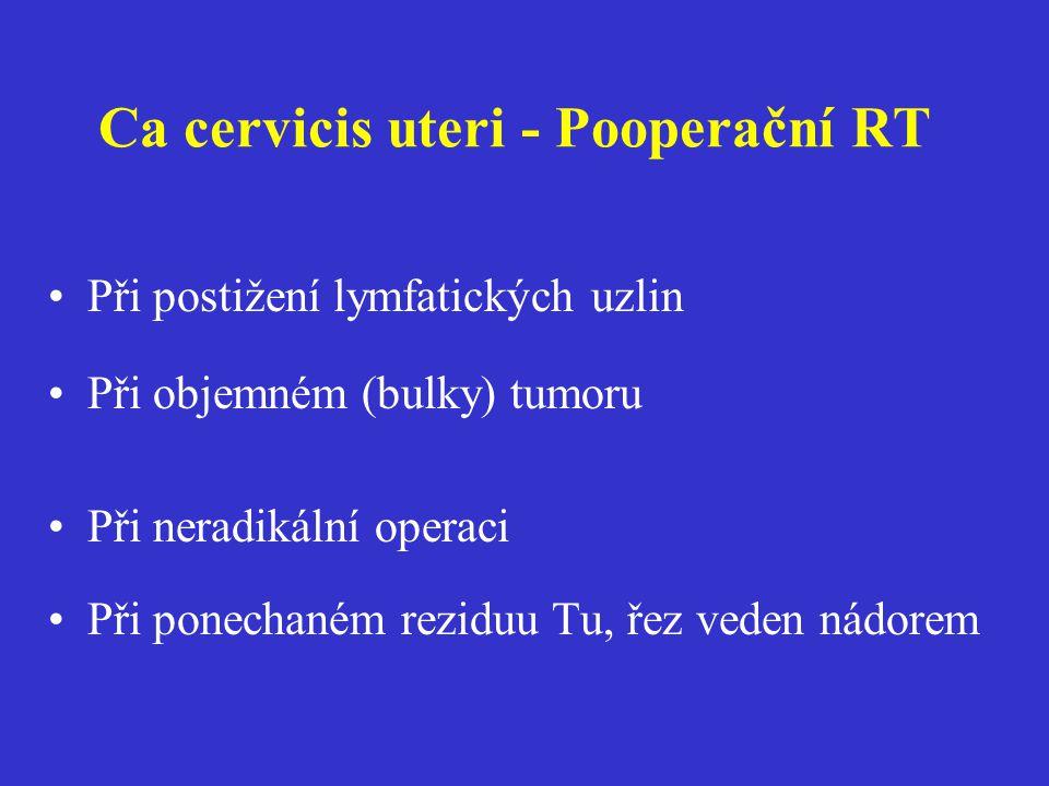Ca cervicis uteri - Pooperační RT Při postižení lymfatických uzlin Při objemném (bulky) tumoru Při neradikální operaci Při ponechaném reziduu Tu, řez