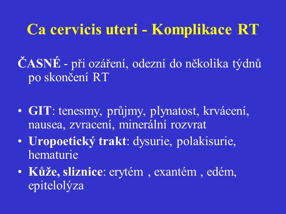 Ca cervicis uteri - Komplikace RT ČASNÉ - při ozáření, odezní do několika týdnů po skončení RT GIT: tenesmy, průjmy, plynatost, krvácení, nausea, zvra
