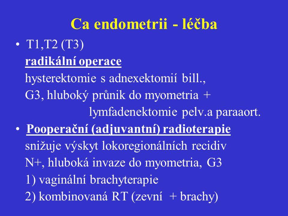 Ca endometrii - léčba T1,T2 (T3) radikální operace hysterektomie s adnexektomií bill., G3, hluboký průnik do myometria + lymfadenektomie pelv.a paraao