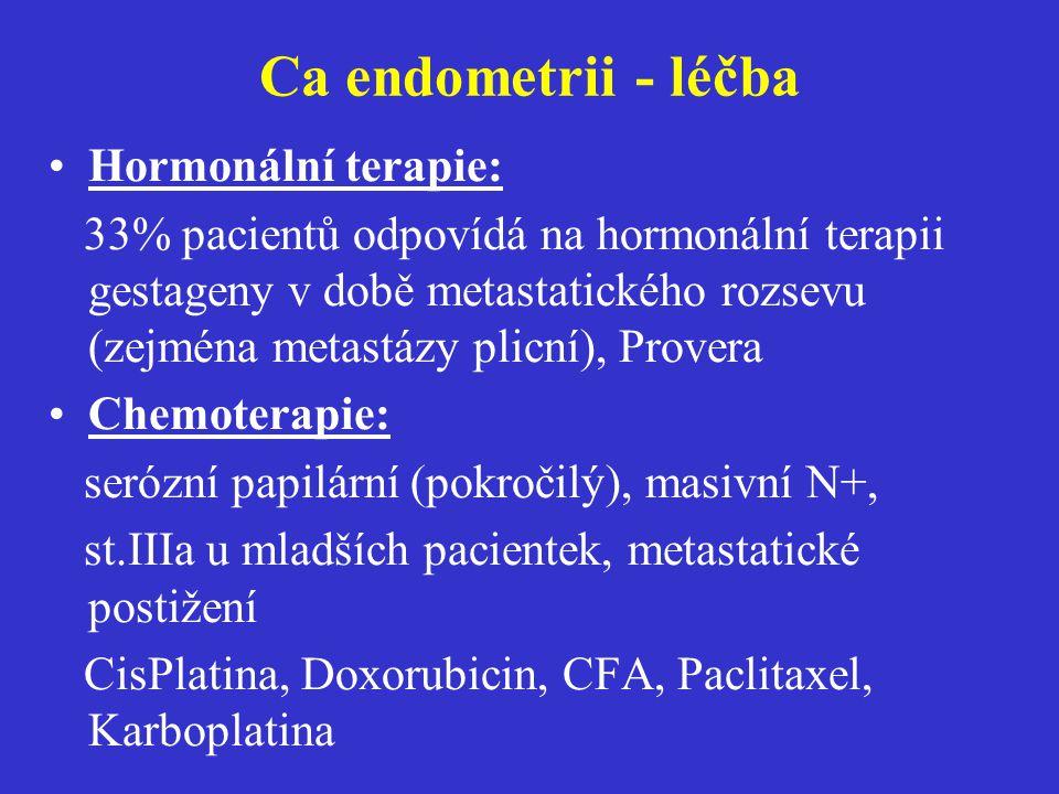 Ca endometrii - léčba Hormonální terapie: 33% pacientů odpovídá na hormonální terapii gestageny v době metastatického rozsevu (zejména metastázy plicn