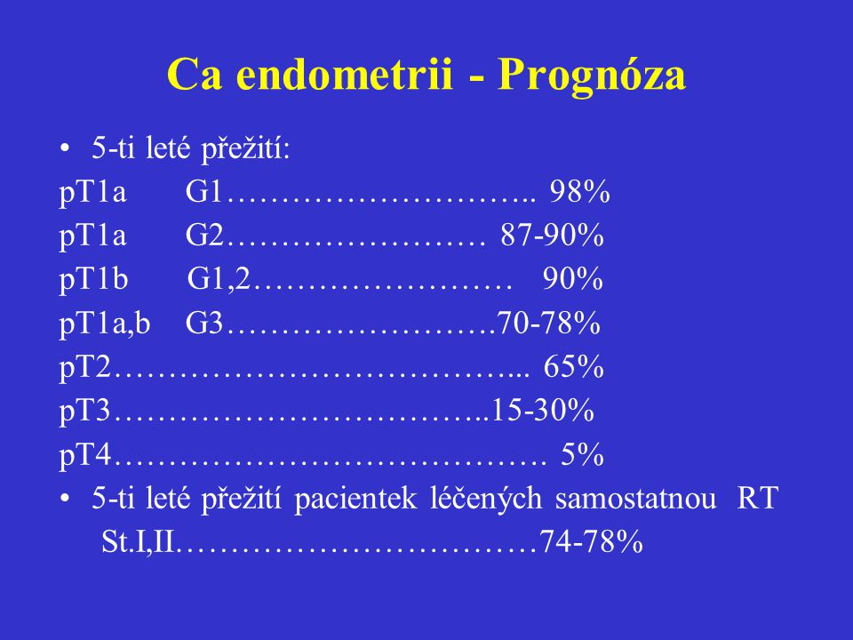 Ca endometrii - Prognóza 5-ti leté přežití: pT1a G1……………………….. 98% pT1a G2…………………… 87-90% pT1b G1,2…………………… 90% pT1a,b G3…………………….70-78% pT2…………………………