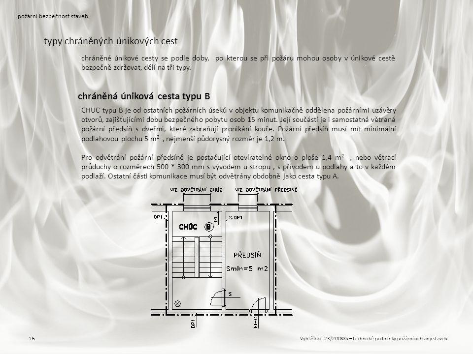Vyhláška č.23/2008Sb – technické podmínky požární ochrany staveb16 požární bezpečnost staveb typy chráněných únikových cest CHUC typu B je od ostatníc
