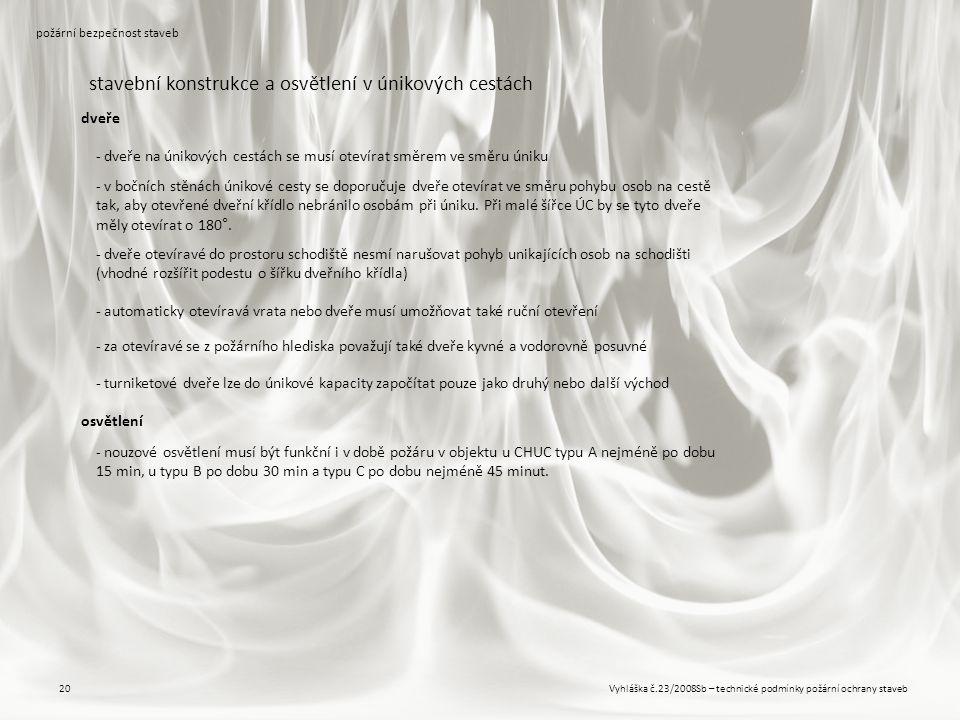 Vyhláška č.23/2008Sb – technické podmínky požární ochrany staveb20 požární bezpečnost staveb stavební konstrukce a osvětlení v únikových cestách - dve