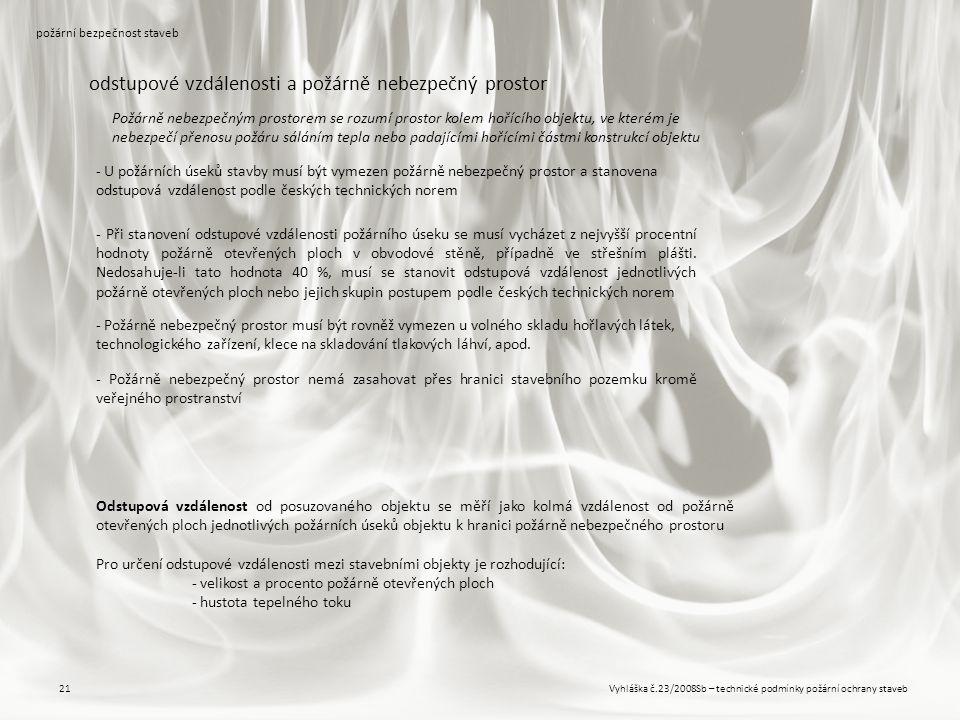 Vyhláška č.23/2008Sb – technické podmínky požární ochrany staveb21 požární bezpečnost staveb odstupové vzdálenosti a požárně nebezpečný prostor - U po