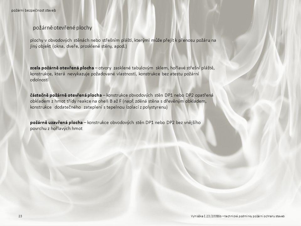 Vyhláška č.23/2008Sb – technické podmínky požární ochrany staveb23 požární bezpečnost staveb požárně otevřené plochy plochy v obvodových stěnách nebo