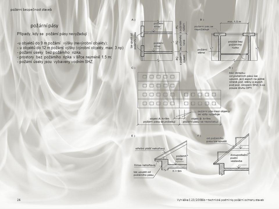 Vyhláška č.23/2008Sb – technické podmínky požární ochrany staveb26 požární bezpečnost staveb požární pásy Případy, kdy se požární pásy nevyžadují : -u