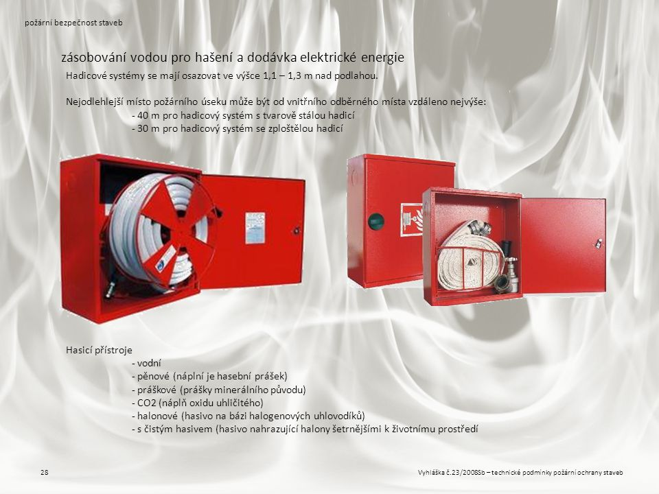 Vyhláška č.23/2008Sb – technické podmínky požární ochrany staveb28 požární bezpečnost staveb zásobování vodou pro hašení a dodávka elektrické energie