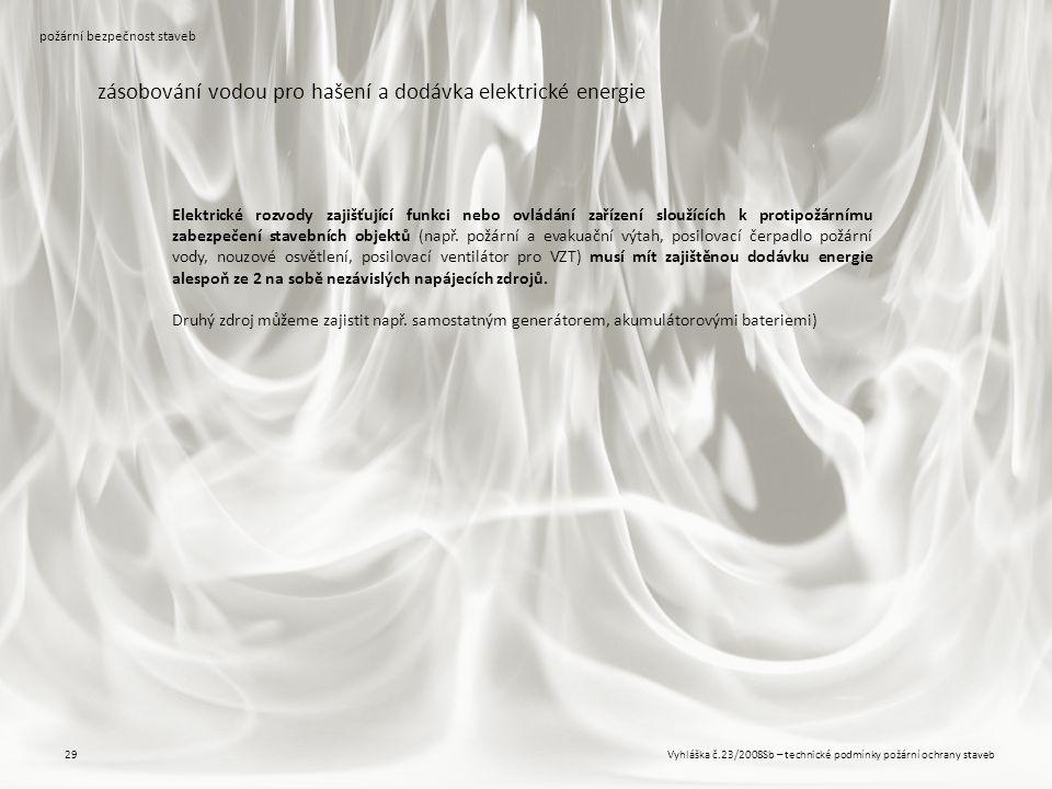 Vyhláška č.23/2008Sb – technické podmínky požární ochrany staveb29 požární bezpečnost staveb zásobování vodou pro hašení a dodávka elektrické energie