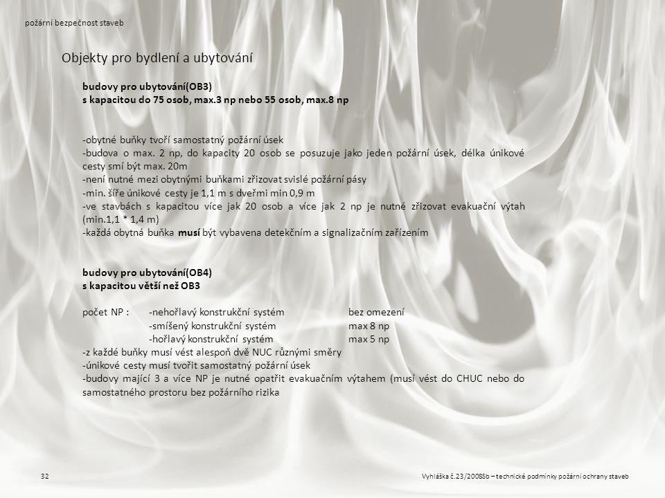 Vyhláška č.23/2008Sb – technické podmínky požární ochrany staveb32 požární bezpečnost staveb Objekty pro bydlení a ubytování budovy pro ubytování(OB3)