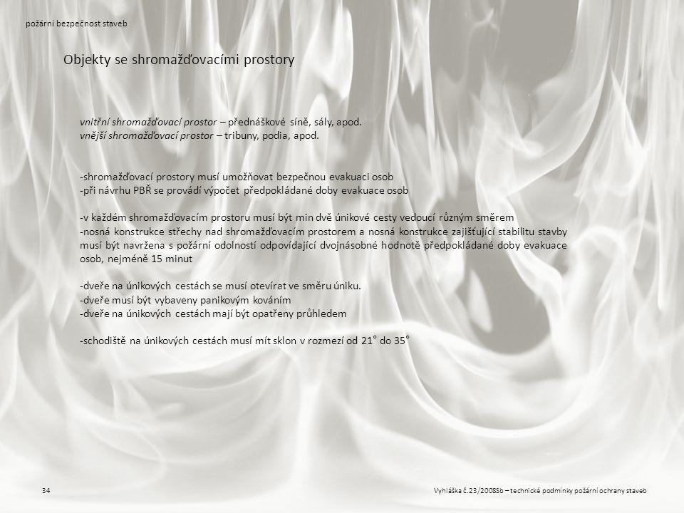 Vyhláška č.23/2008Sb – technické podmínky požární ochrany staveb34 požární bezpečnost staveb Objekty se shromažďovacími prostory vnitřní shromažďovací