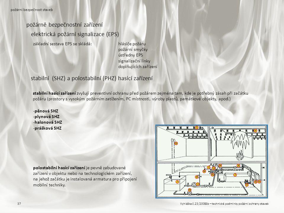 Vyhláška č.23/2008Sb – technické podmínky požární ochrany staveb37 požární bezpečnost staveb požárně bezpečnostní zařízení základní sestava EPS se skl