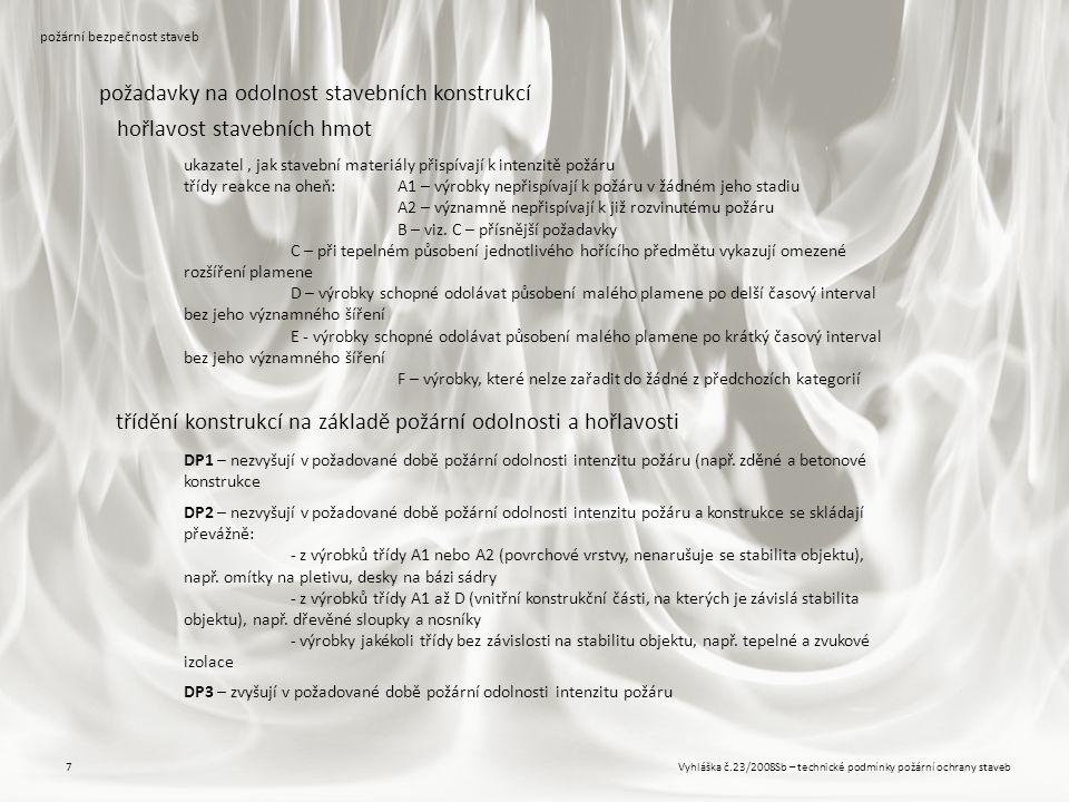 Vyhláška č.23/2008Sb – technické podmínky požární ochrany staveb7 požární bezpečnost staveb požadavky na odolnost stavebních konstrukcí hořlavost stav