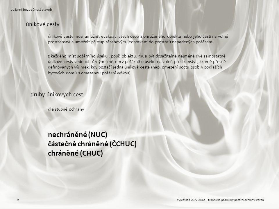 Vyhláška č.23/2008Sb – technické podmínky požární ochrany staveb9 požární bezpečnost staveb únikové cesty druhy únikových cest dle stupně ochrany únik