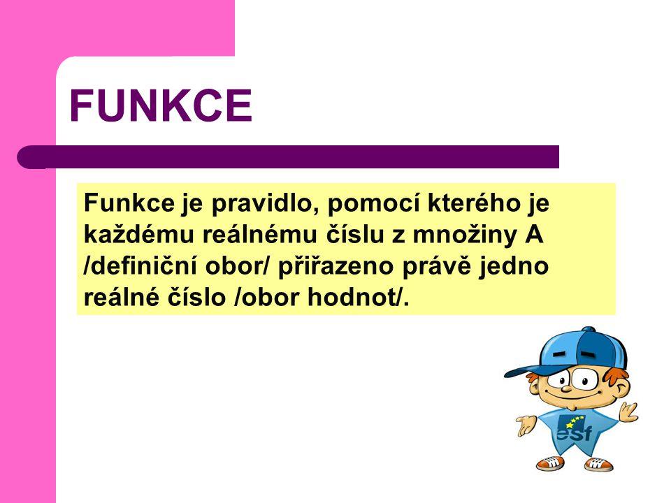 FUNKCE Funkce je pravidlo, pomocí kterého je každému reálnému číslu z množiny A /definiční obor/ přiřazeno právě jedno reálné číslo /obor hodnot/.