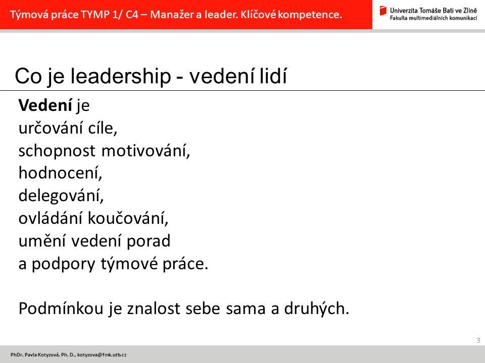 Co je leadership - vedení lidí 3 PhDr.Pavla Kotyzová, Ph.