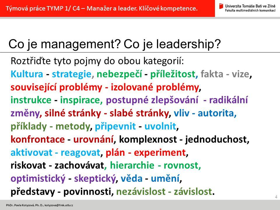 Klíčové kompetence manažera a leadera 5 PhDr.Pavla Kotyzová, Ph.