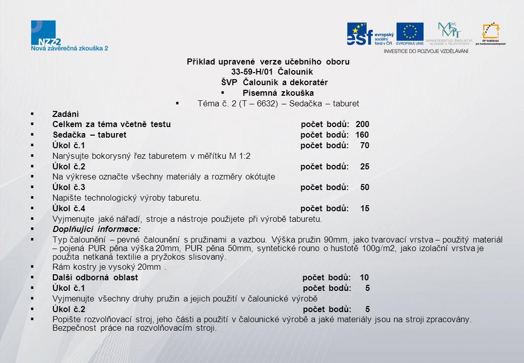 Příklad upravené verze učebního oboru 33-59-H/01 Čalouník ŠVP Čalouník a dekoratér  Písemná zkouška  Téma č. 2 (T – 6632) – Sedačka – taburet  Zadá