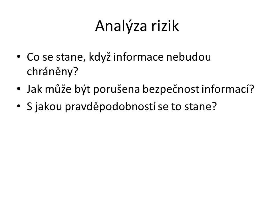 Analýza rizik Co se stane, když informace nebudou chráněny? Jak může být porušena bezpečnost informací? S jakou pravděpodobností se to stane?