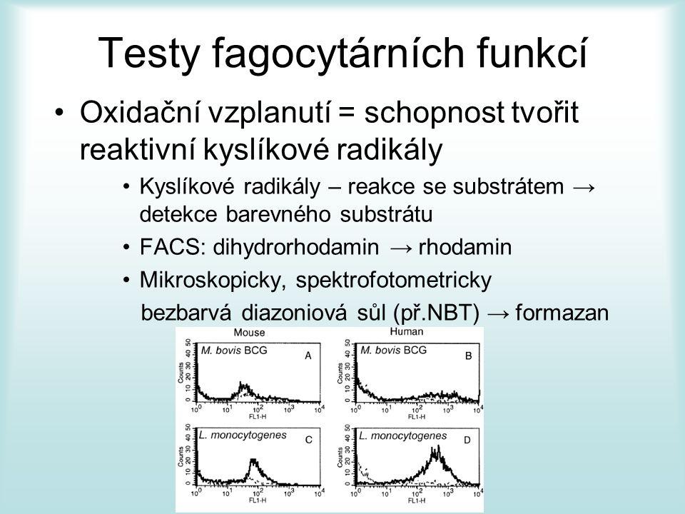 Testy fagocytárních funkcí Oxidační vzplanutí = schopnost tvořit reaktivní kyslíkové radikály Kyslíkové radikály – reakce se substrátem → detekce barevného substrátu FACS: dihydrorhodamin → rhodamin Mikroskopicky, spektrofotometricky bezbarvá diazoniová sůl (př.NBT) → formazan