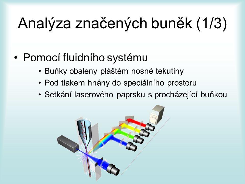 Analýza značených buněk (1/3) Pomocí fluidního systému Buňky obaleny pláštěm nosné tekutiny Pod tlakem hnány do speciálního prostoru Setkání laserového paprsku s procházející buňkou