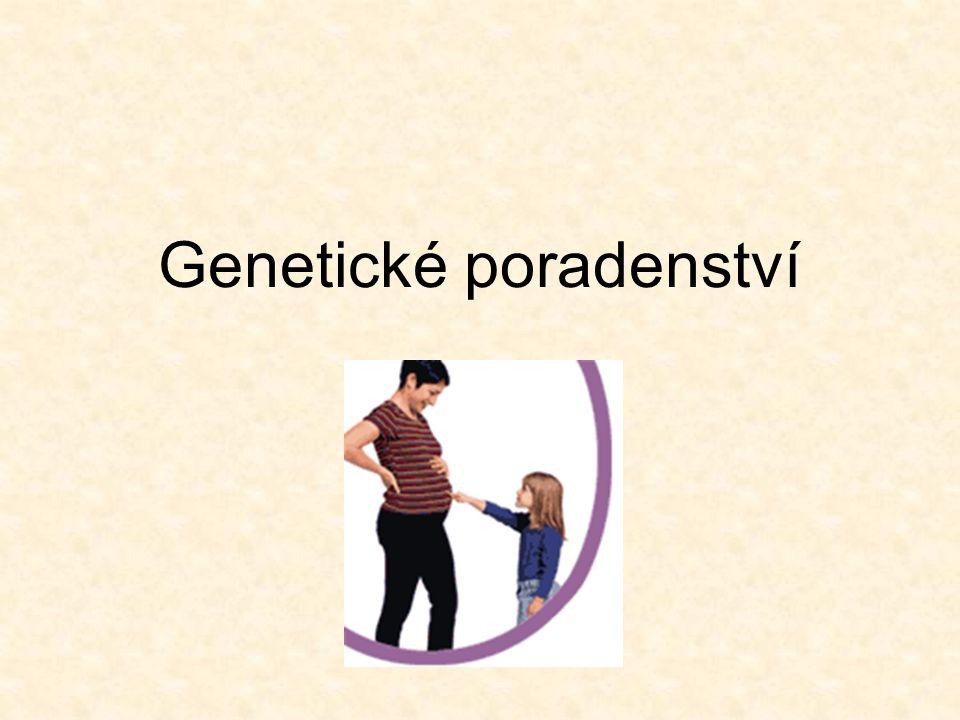 = proces komunikace s rodinou, zaměřený na problémy výskytu nebo rizika výskytu genetické choroby v rodině Úkoly: stanovení diagnózy, prognózy pro postiženého, rizik pro další členy rodiny, event.možnosti léčby, prevence