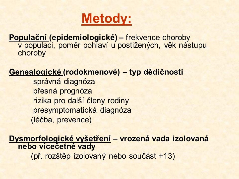 Cytogenetické – postnatální vyšetření chromozomů periferní krve postižených, a jejich příbuzných prenatální vyšetření - AMC, CVS, fetální krev Biochemické – stanovení metabolitů, koncentrace metabolitů, aktivity enzymů v krvi prenatální biochemický skrínink vvv postnatální screening (PKU) Molekulárně genetické – detekce mutací - postnatální, prenatální (RFLP, PCR )