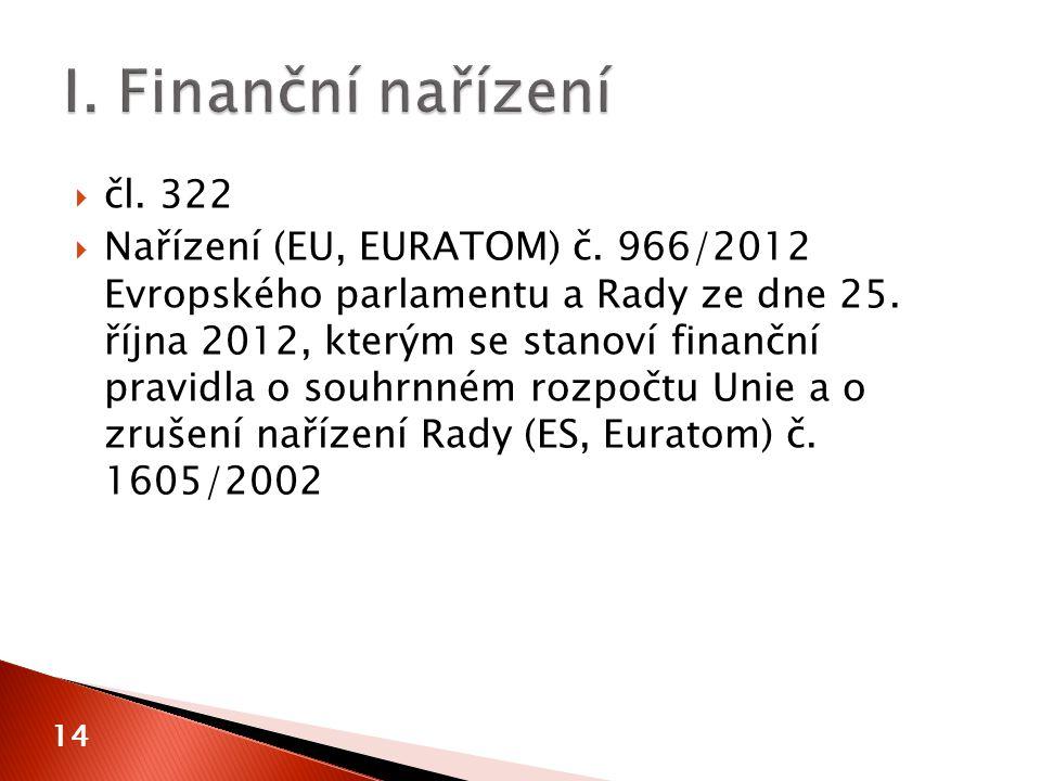 14  čl. 322  Nařízení (EU, EURATOM) č. 966/2012 Evropského parlamentu a Rady ze dne 25.