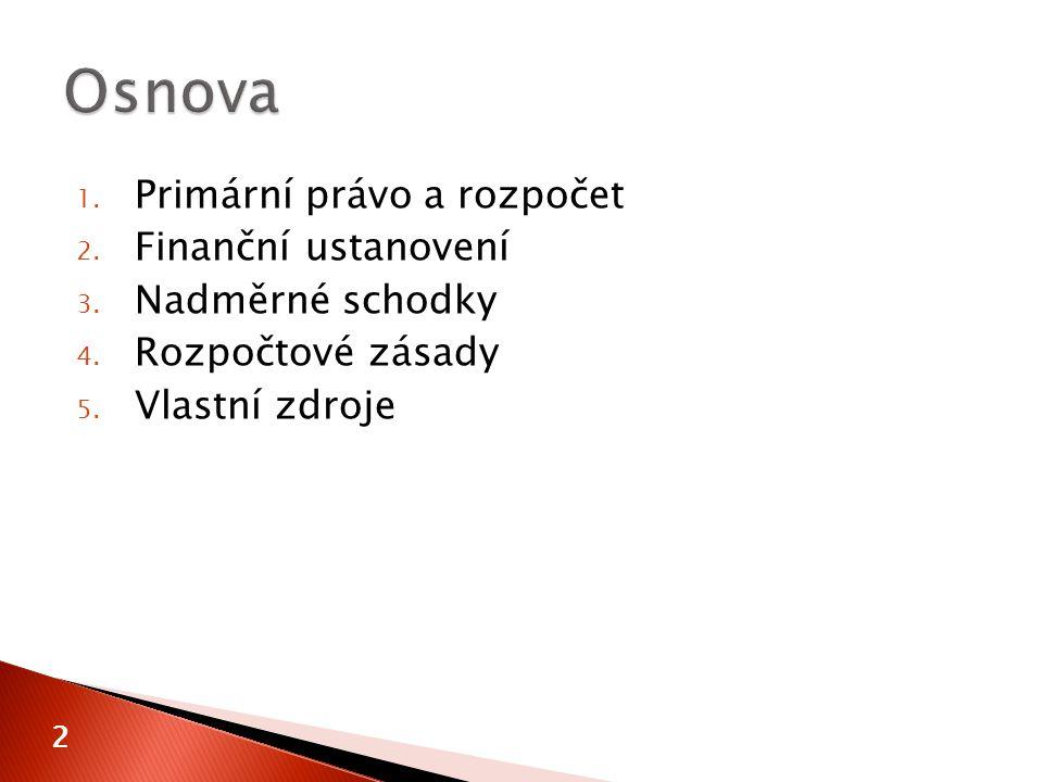 1. Primární právo a rozpočet 2. Finanční ustanovení 3.