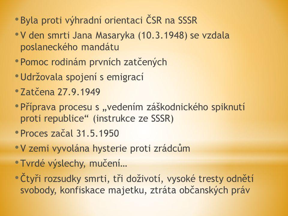Byla proti výhradní orientaci ČSR na SSSR V den smrti Jana Masaryka (10.3.1948) se vzdala poslaneckého mandátu Pomoc rodinám prvních zatčených Udržova