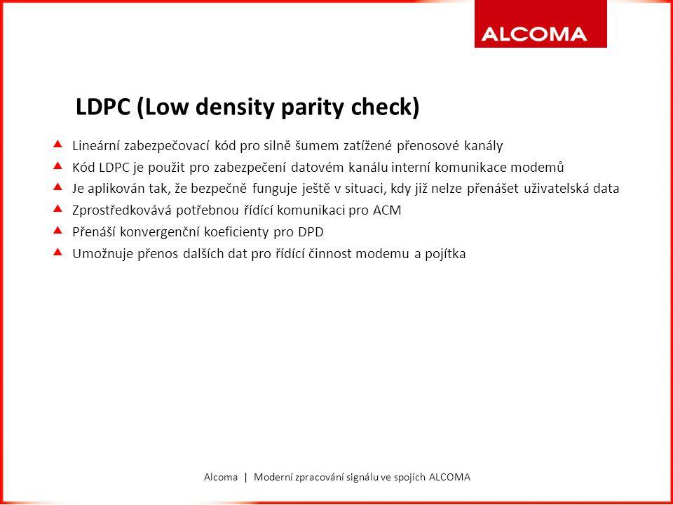 Alcoma | Moderní zpracování signálu ve spojích ALCOMA LDPC (Low density parity check)  Lineární zabezpečovací kód pro silně šumem zatížené přenosové