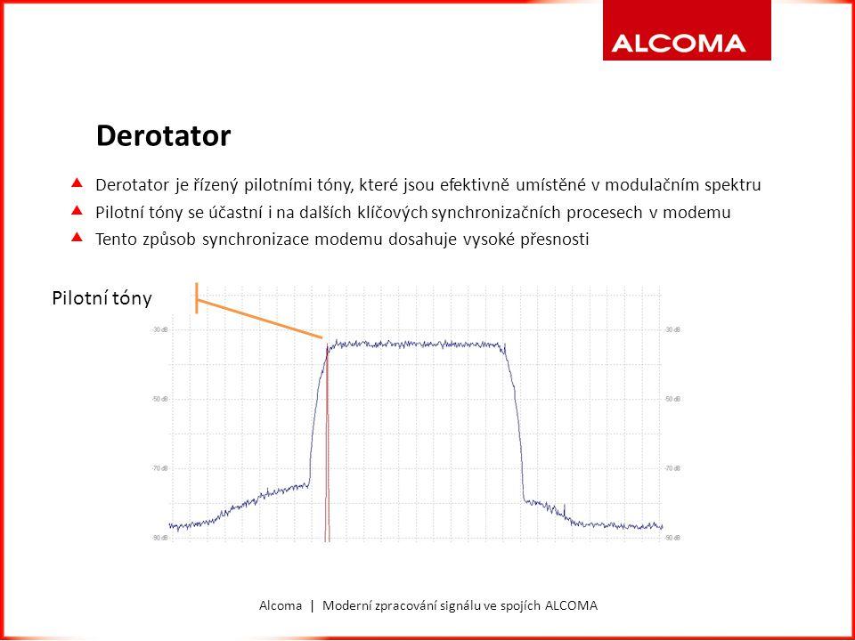 Alcoma | Moderní zpracování signálu ve spojích ALCOMA Derotator  Derotator je řízený pilotními tóny, které jsou efektivně umístěné v modulačním spekt