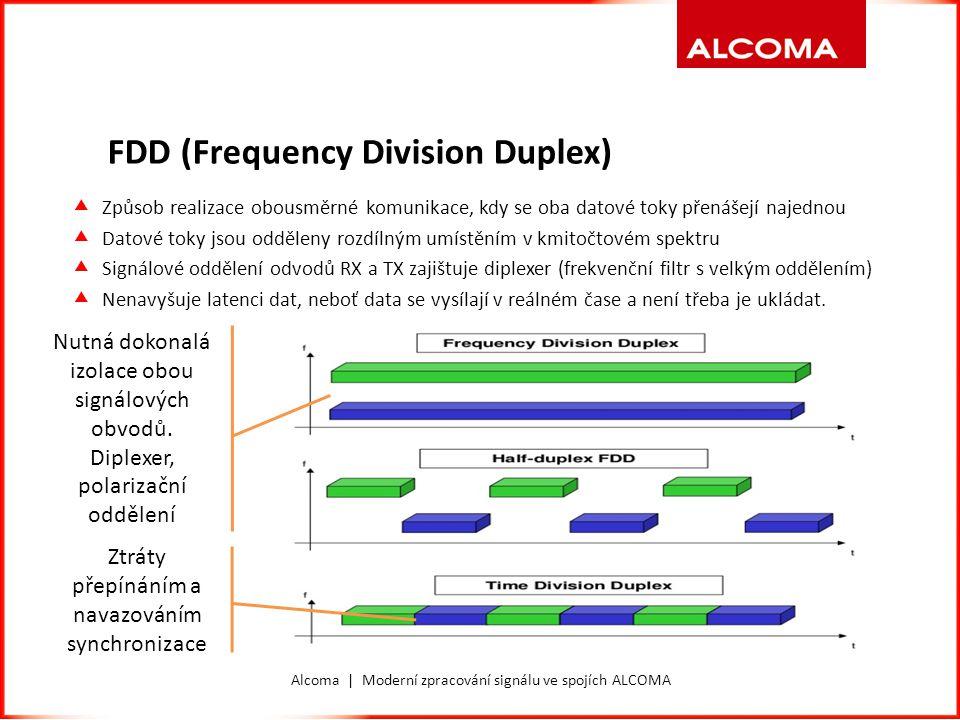 FDD (Frequency Division Duplex)  Způsob realizace obousměrné komunikace, kdy se oba datové toky přenášejí najednou  Datové toky jsou odděleny rozdíl