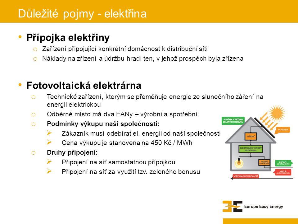 Přípojka elektřiny o Zařízení připojující konkrétní domácnost k distribuční síti o Náklady na zřízení a údržbu hradí ten, v jehož prospěch byla zřízen