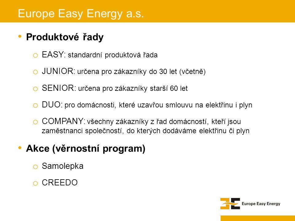 Produktové řady o EASY: standardní produktová řada o JUNIOR: určena pro zákazníky do 30 let (včetně) o SENIOR: určena pro zákazníky starší 60 let o DU