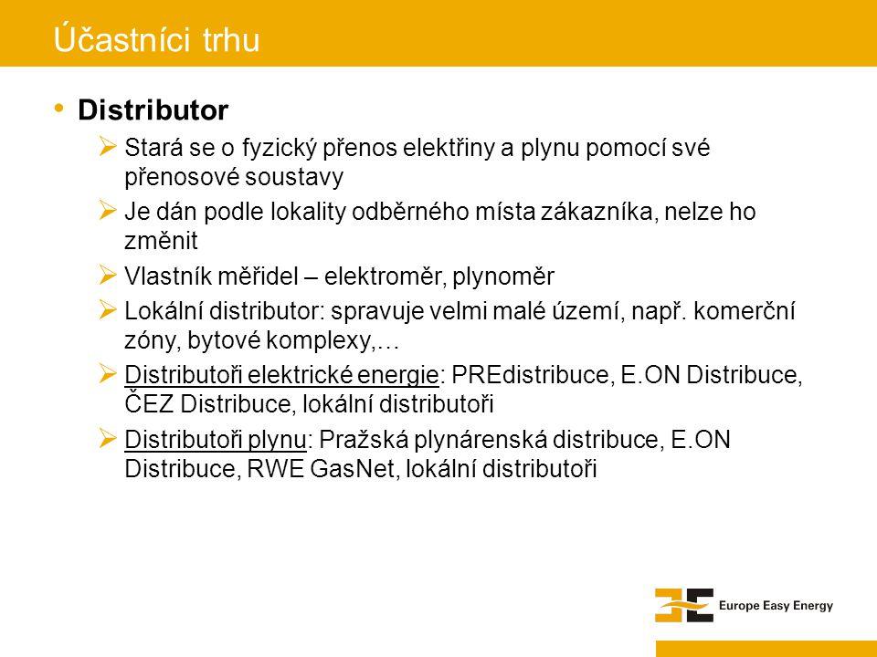 Distributor  Stará se o fyzický přenos elektřiny a plynu pomocí své přenosové soustavy  Je dán podle lokality odběrného místa zákazníka, nelze ho zm