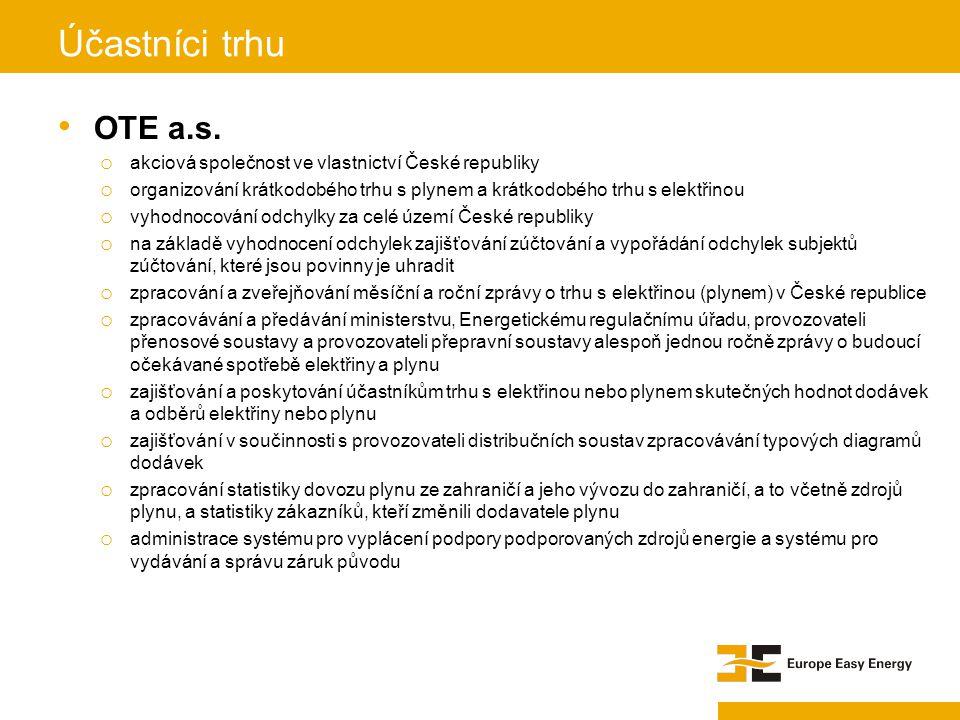 OTE a.s. o akciová společnost ve vlastnictví České republiky o organizování krátkodobého trhu s plynem a krátkodobého trhu s elektřinou o vyhodnocován