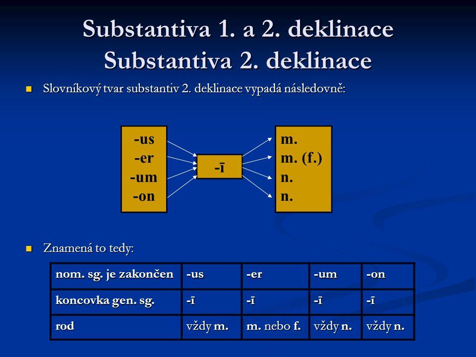 Substantiva 1.a 2. deklinace Substantiva 2. deklinace Slovníkový tvar substantiv 2.