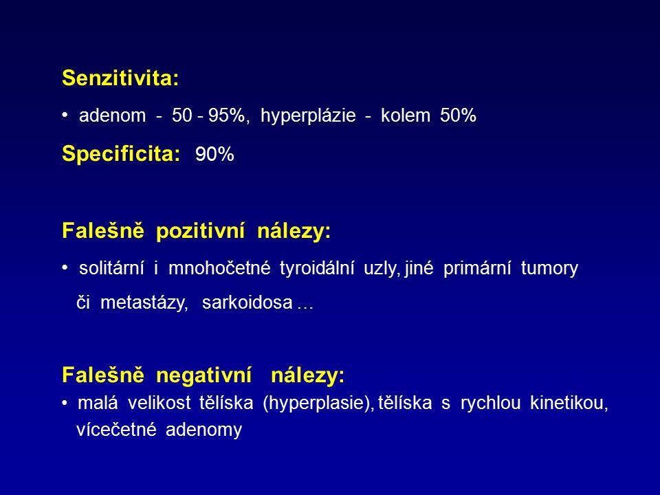 Senzitivita: adenom - 50 - 95%, hyperplázie - kolem 50% Specificita: 90% Falešně pozitivní nálezy: solitární i mnohočetné tyroidální uzly, jiné primár