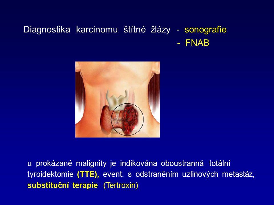 Diagnostika karcinomu štítné žlázy - sonografie - FNAB u prokázané malignity je indikována oboustranná totální tyroidektomie (TTE), event. s odstraněn