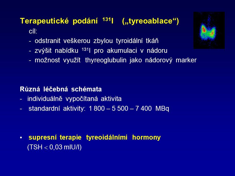 """Terapeutické podání 131 I (""""tyreoablace"""") cíl: - odstranit veškerou zbylou tyroidální tkáň - zvýšit nabídku 131 I pro akumulaci v nádoru - možnost vyu"""