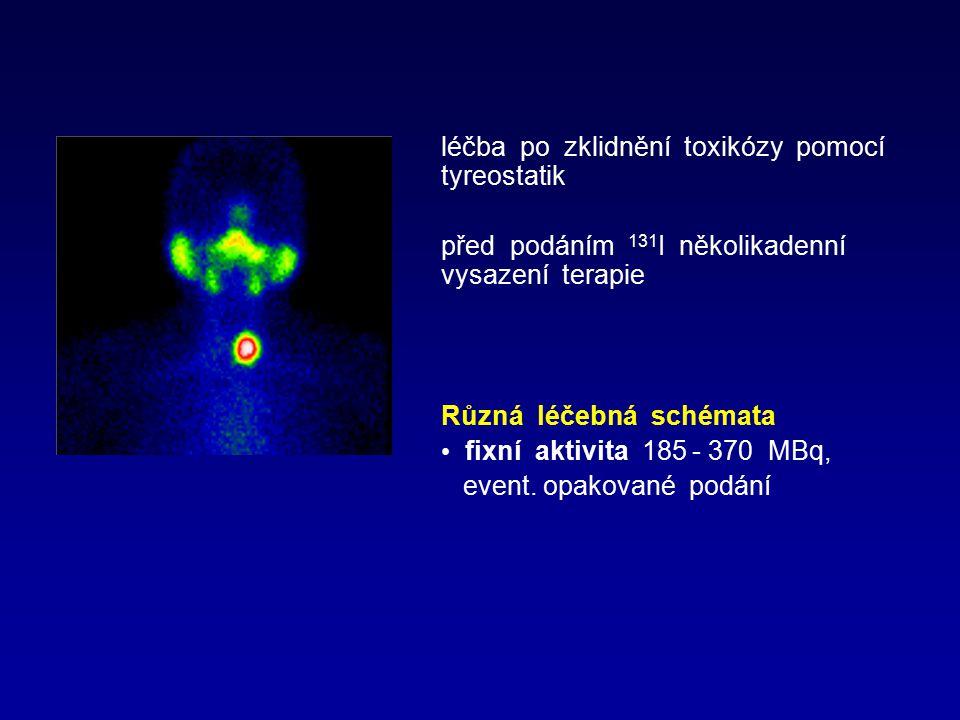 léčba po zklidnění toxikózy pomocí tyreostatik před podáním 131 I několikadenní vysazení terapie Různá léčebná schémata fixní aktivita 185 - 370 MBq,