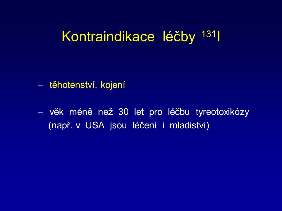 Kontraindikace léčby 131 I – těhotenství, kojení – věk méně než 30 let pro léčbu tyreotoxikózy (např. v USA jsou léčeni i mladiství)
