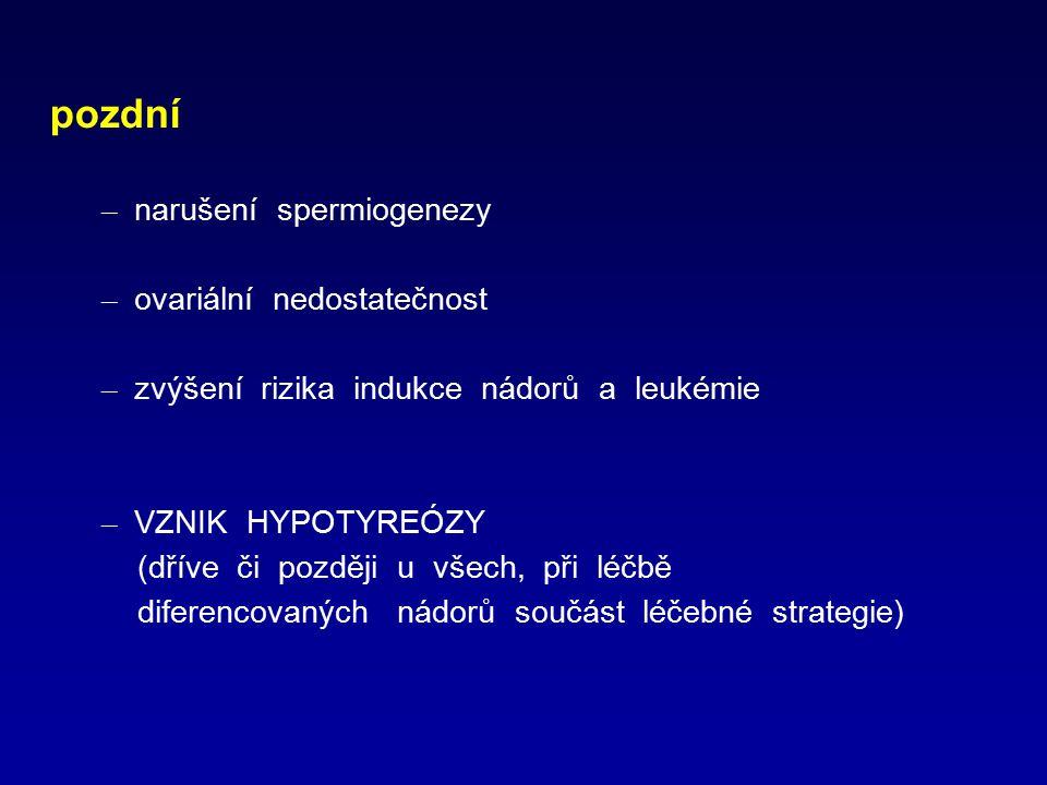 pozdní – narušení spermiogenezy – ovariální nedostatečnost – zvýšení rizika indukce nádorů a leukémie – VZNIK HYPOTYREÓZY (dříve či později u všech, p
