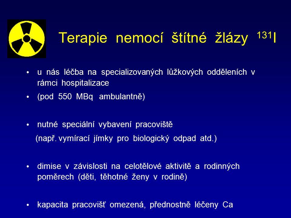 Terapie nemocí štítné žlázy 131 I u nás léčba na specializovaných lůžkových odděleních v rámci hospitalizace (pod 550 MBq ambulantně) nutné speciální